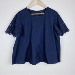 J CREW Navy Blue Blouse
